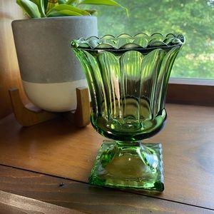 Vintage Depression glass pedestal vase green